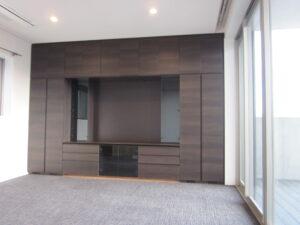 港区 テレビボード 壁面収納 ブラウン