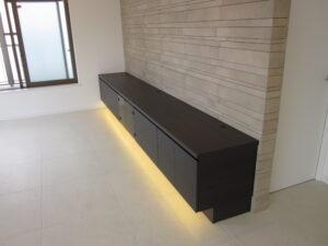 目黒区 テレビボード フロート シンプル ダーク